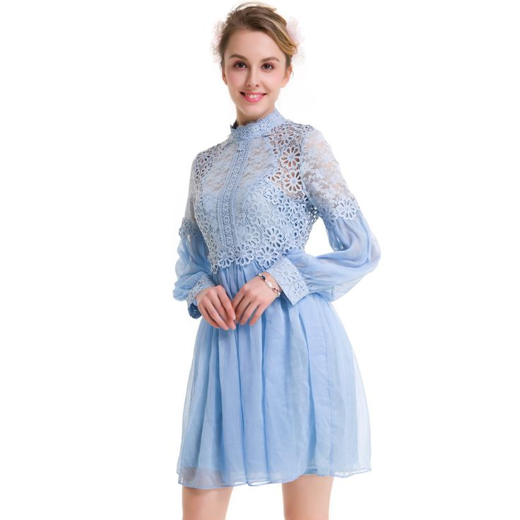 2017 Women Silk Self Portrait dress high neck a-line Dress floral Lace patchwork party dress robe femme vestidos ukraine xxl 3xl