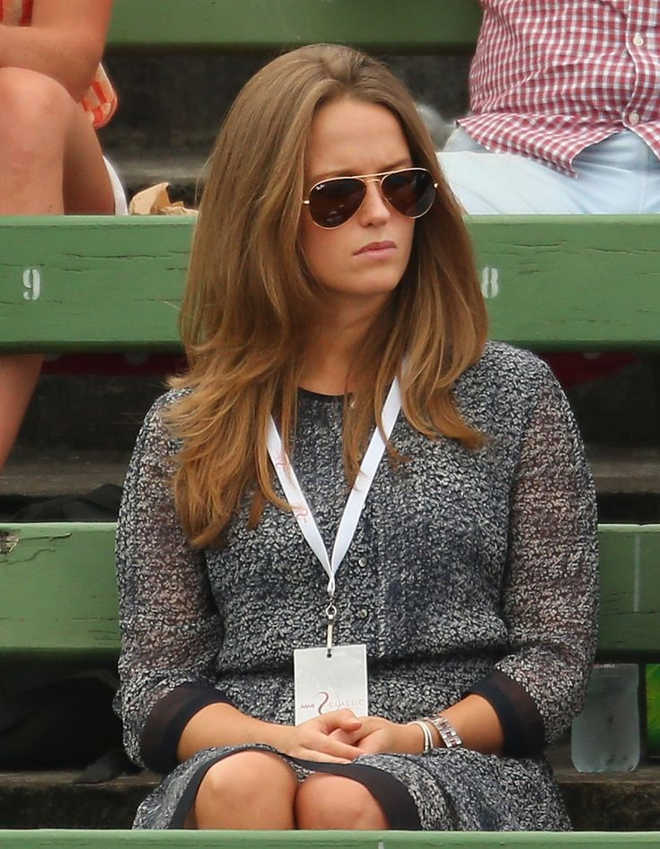 Kim Sears, girlfriend of Andy Murray of Great Britain looks on during his match against Lleyton Hewitt of Australia during day three of the AAMI Classic at Kooyong on January 10, 2014 in Melbourne, Australia.