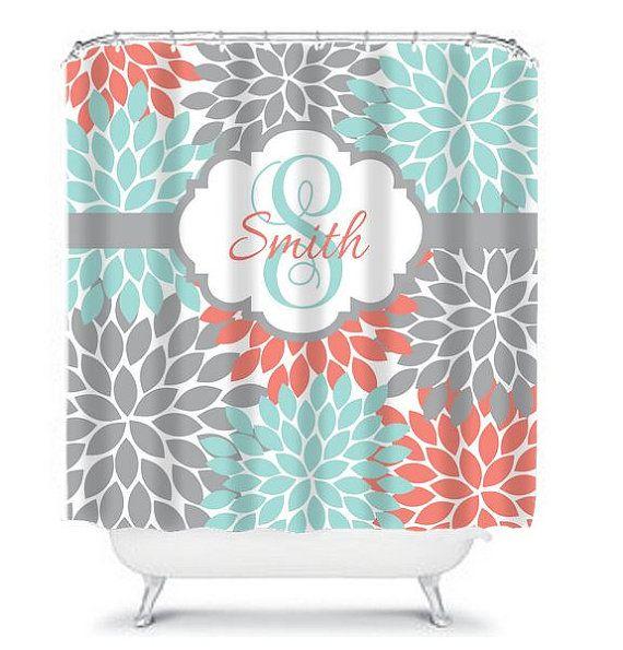 SHOWER CURTAIN Custom MONOGRAM Personalized Bathroom Decor Flower Burst Pattern Coral Aqua Gray Beach Towel Plush Bath Mat Made in the USA    ★SHOWER