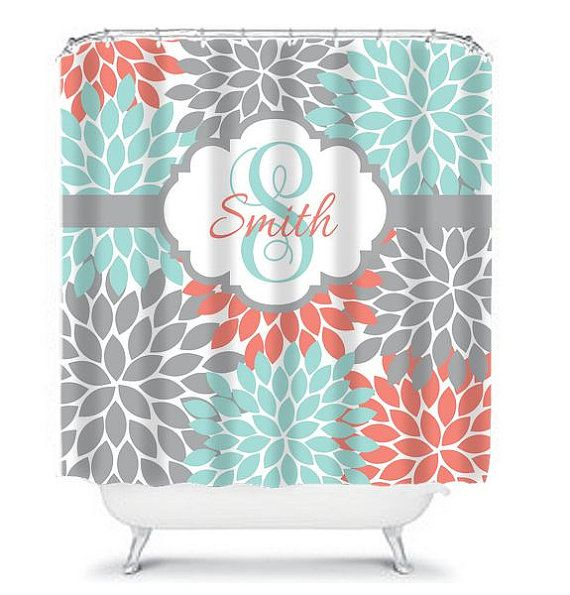 SHOWER CURTAIN Custom MONOGRAM Personalized Bathroom Decor Flower Burst Pattern Coral Aqua Gray Beach Towel Plush Bath Mat Made in the USA    ★SHOWER