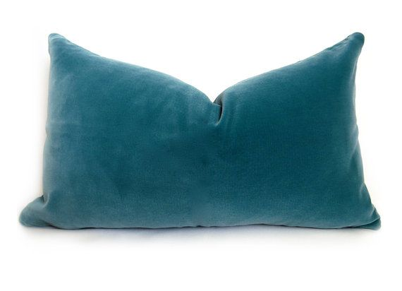 Belgium Cotton Velvet Pillow Cover  Teal  12x20 by WillaSkyeHome