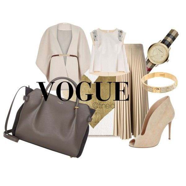 Nude elegant outfit by fineid on Polyvore featuring moda, Maison Margiela, River Island, Givenchy, Gianvito Rossi, Nina Ricci, Burberry, Versace and Oliver Gal Artist Co.
