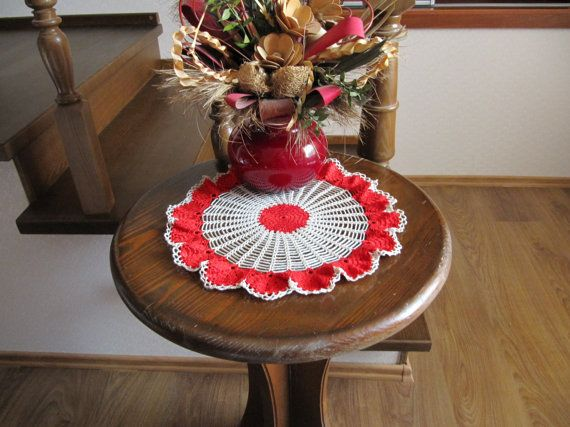 Red Flowers Crochet Doily 14 inches Round by DoliaGalinaCrochet