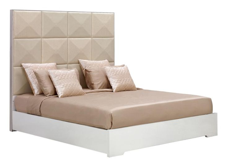 """Temptation Ariel High Headboard Modern Bed. The temptation collection features unique transitional and modern furniture that you won't find anywhere else. Made of high quality materials and feature a very unique design. Dimensions  Queen: W85"""" x D64"""" x H67""""  Cal. King: W89"""" x D76"""" x H67""""  East. King: W85"""" x D80"""" x H67""""  Nightstand: W28"""" x D20"""" x H55""""  Dresser(Not Available): W67"""" x D19.5"""" x H28.5""""   Mirror: W34"""" x D2.5"""" x H48"""" Solid wood: Birch from Southwestern BurmaArtificial board:..."""
