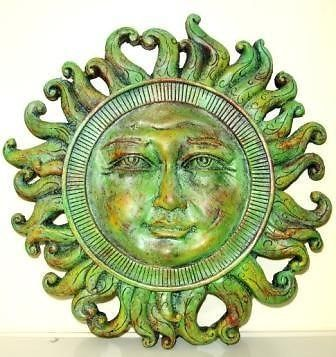 ITEM: Sun Wall Plaque  MATERIAL: Designer Casting Stone    Model #12090    Color: Green    WEIGHT: 2 lbs    MEASUREMENTS: 10.5 W X 10.5 H X 1 D