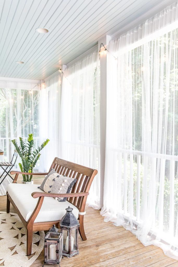 Diy Outdoor Curtains And Screened Porch For Under 100 Porches