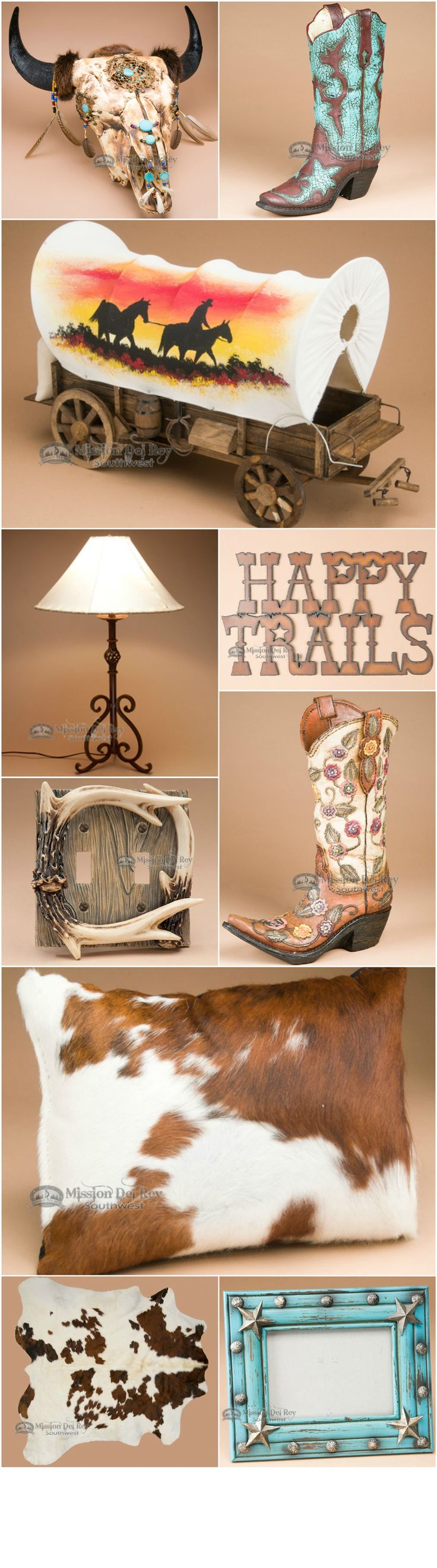 Find the perfect western decor for a cabin, lodge, or rustic style home.  Choose from a wide variety of southwestern lamps and lampshades, cowboy decor and rustic metal art.  See our entire collection at http://www.missiondelrey.com/