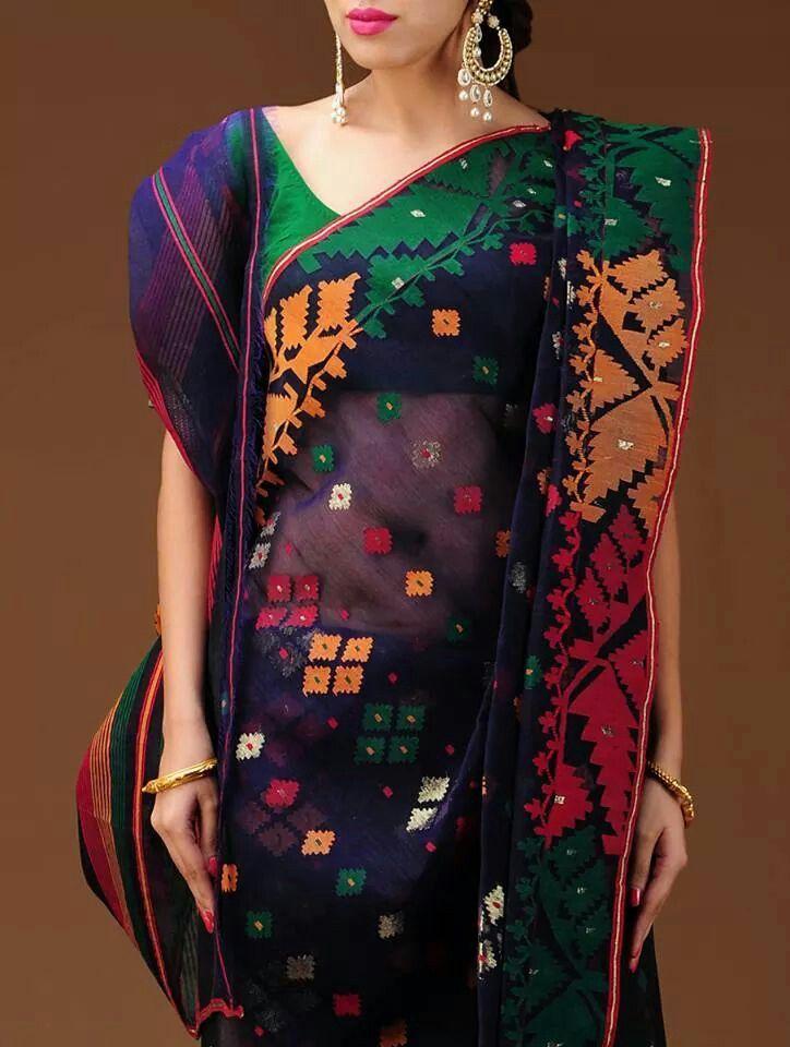 Purple based multi colored traditional Dhakai muslin jamdani saree by Vastra Kuttim