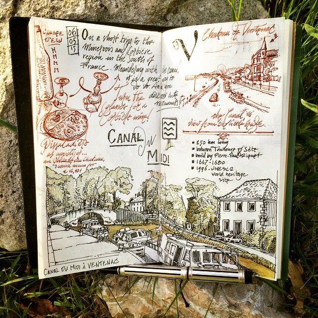 Memories of Canal du Midi. Midori Traveler's Notebook. Lamy Safari, Waterman & Rotring Art Pen.