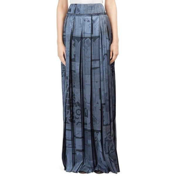 Maison Margiela Silk Plisse Maxi Skirt (2,570 PEN) ❤ liked on Polyvore featuring skirts, long ankle length skirts, long pleated maxi skirt, patterned maxi skirt, pleated maxi skirts and long blue skirt