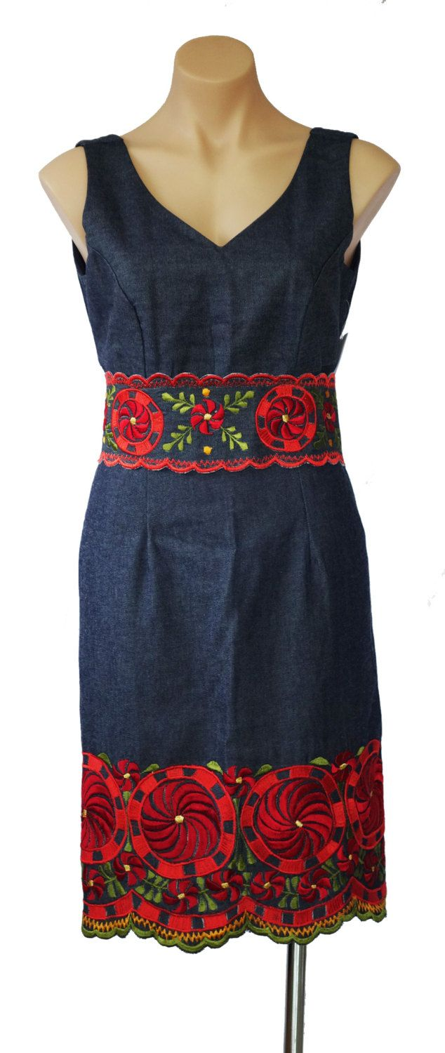Mexican Handmade   Denim Dress with Separate Embroidered Belt by MexicanitaBoutique on Etsy
