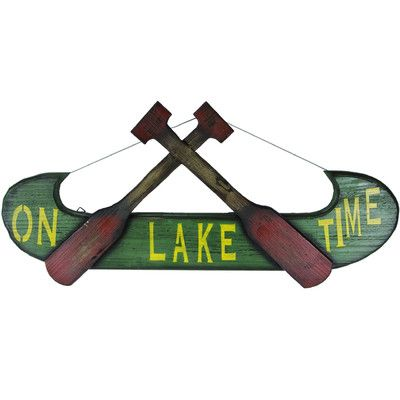 De Leon Collections Canoe and Oars on Lake Time Wall Decor