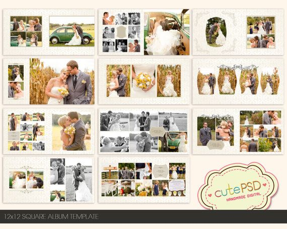 Instant Download 12x12 Square wedding album template by CutePSD, $20.00