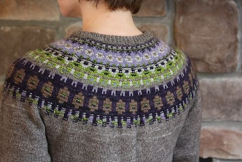 Name Green Shimmer Pattern The Blue Shimmer Yoke Pullover by Anna-Lisa Mannheimer Lunn