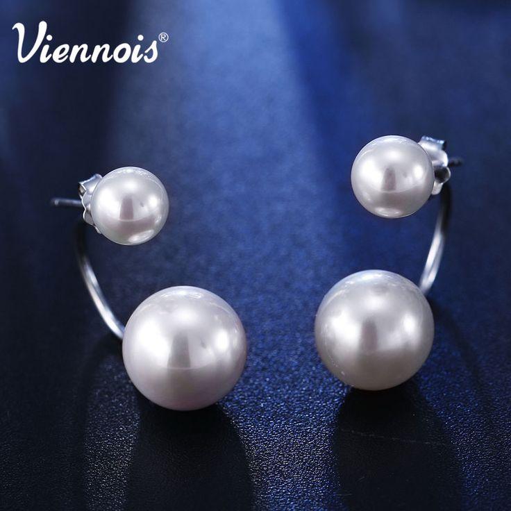 Viennois двойной жемчужные серьги искусственный жемчуг мода 925 чистого серебра серьги жемчуг женский классический свадьба серьгакупить в магазине Viennoisjewelry(offical)наAliExpress