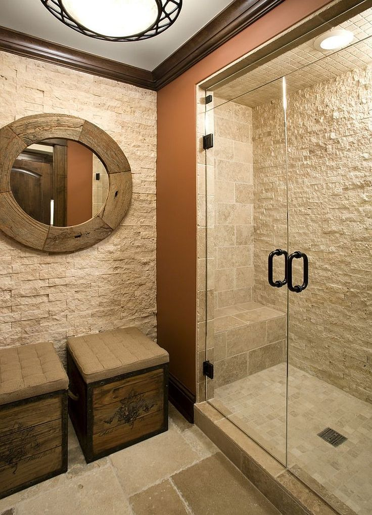 Bagni Piastrellati Small Bathroom With Stone Wall Containing: Weathered Wood