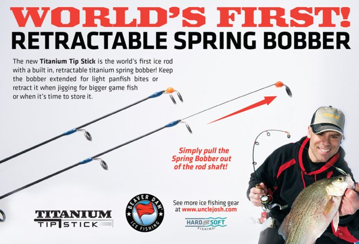 Beaver dam ice fishing rod with titanium spring bobber for Beaver dam ice fishing