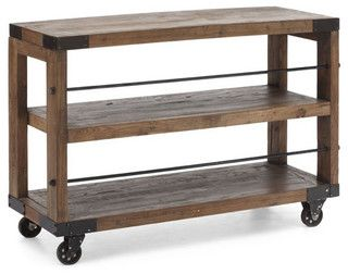 Give your room a rustic accent with our Fort Mason industrial sideboard, buffet and cart shelf. Black wrought iron frame adds character and charm to this