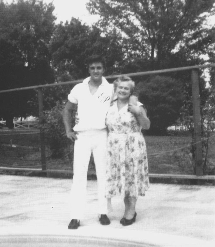 """Memphis, TN, Friday August 9, 1957: Actor Nick Adams (""""Rebel Without a Cause"""") and his mother, Catherine Adamshock (neé Kutz, April 17, 1010 – March 1995), visit Elvis and his parents at Graceland. This photo shows Elvis wearing his monogrammed shirt  with Nick's mom Catherine Adamshock by the pool. See more at: https://allysunshine.wordpress.com/?s=Catherine+Adamshock"""