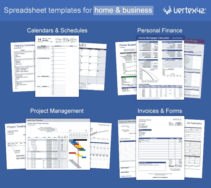 Free Templates for:  Calendars, Calculators, Business Forms, Legal Forms, Invoices, Time Sheets, Schedules, Financial Statements etc:   Spreadsheets by Vertex42 #home&businessaccountingsoftware,