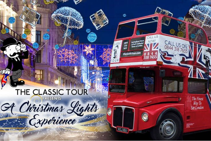 London Xmas Lights Bus Tour deal in Tourist Attractions See the seasonal delights with a bus tour around London's Xmas lights!   Take in the town atop an original 1960s Routemaster open top bus.   Visits Oxford Street, Harrods and Hyde Park's Winter Wonderland.   Hosted by a superb comedic tour guide hand-picked by comedy writers.  Site-specific immersive audio-visuals to enhance the experience.  Runs seven days a week and lasts up to 90 minutes.