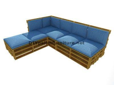 Guida passo passo per fare facilmente un divano con chaise-lungo con interi pallet