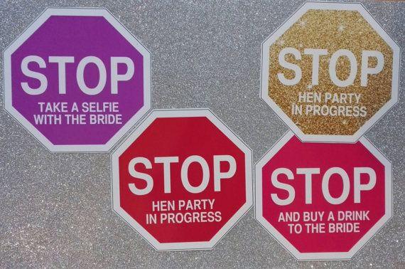 Stop Bachelorette Party Photo booth Props  Hen di Addionubilato