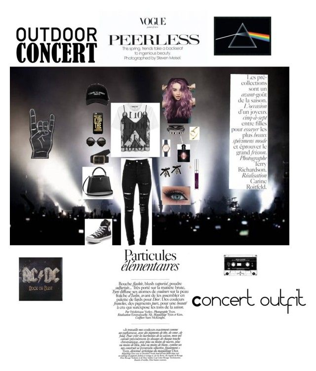 """Concert outfit"" by carolineflife ❤ liked on Polyvore featuring Converse, Manolo Blahnik, McQ by Alexander McQueen, Yves Saint Laurent, Wrangler, FOSSIL, Dsquared2, Carmen Diaz, GUESS and Latelita"