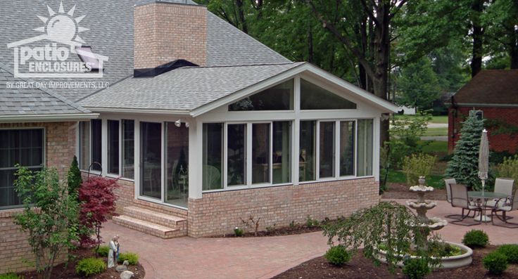 White aluminum frame all season room with gable roof for All season rooms