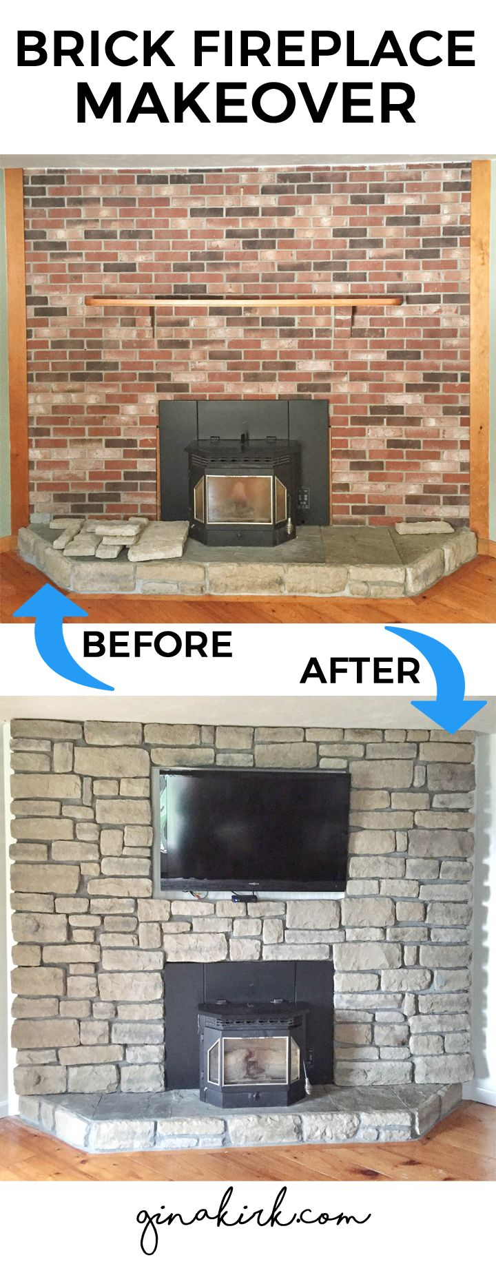 Brick fireplace makeover | Stone veneer fireplace wall | home design living space makeover | brick wall before and after | GinaKirk.com
