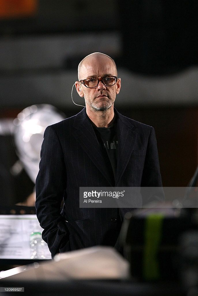 Singer Michael Stipe and R.E.M.rehearse before they perform on NBC's 'The Today Show' at Dean & Deluca Plaza, Rockerfeller Center, New York City, on April 1, 2008.
