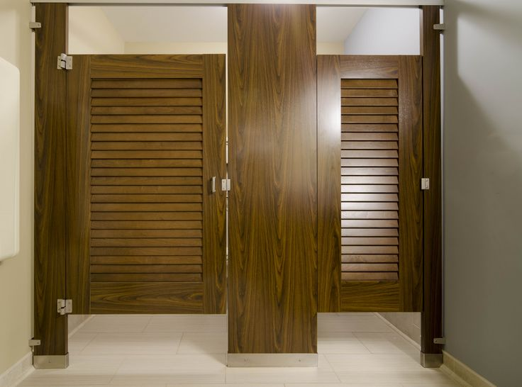 12 best molding toilet partitions images on pinterest for Louvered bathroom stall doors