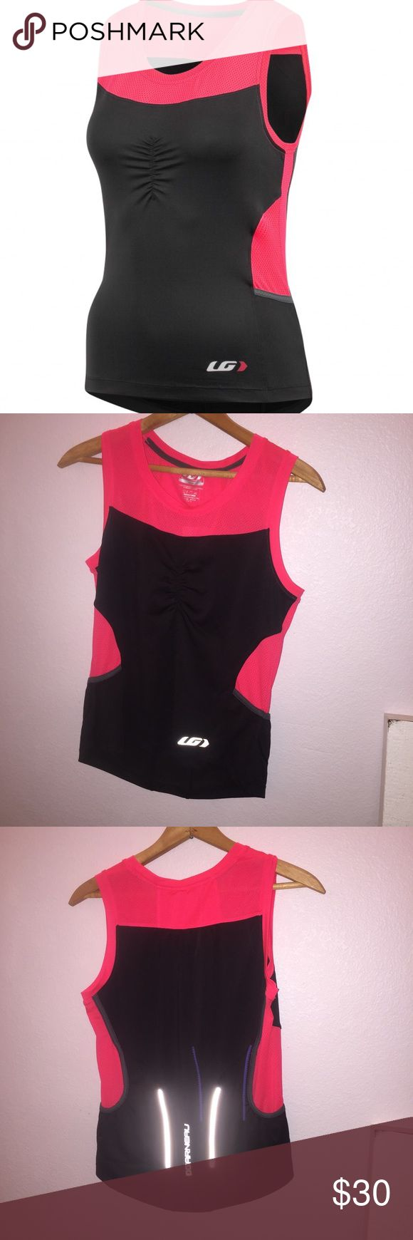 NWT Louis Garneau Tank NWT Louis Garneau Tank. Pink and black with reflective stripes on back. 💸DONT FORGET TO BUNDLE AND SAVE💸 Louis Garneau  Tops Tank Tops