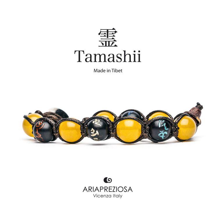 Tamashii - Bracciale originale tibetano (tg. L) realizzato con pietre naturali Agata Gialla e legno orientale autentico con SIMBOLI MANTRA incisi a mano