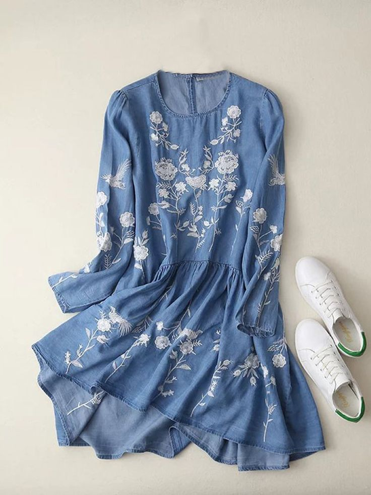 Casual Embroidery O-neck Long Sleeve Women Denim Dresses