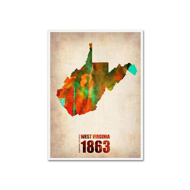 Trademark Fine Art Watercolor State & Date Canvas Wall Art, Multicolor