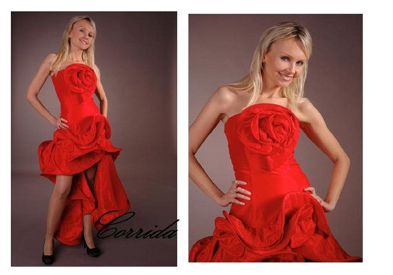 CORRIDA red taffeta prom dress bridesmaid dress by AtelierArtistia