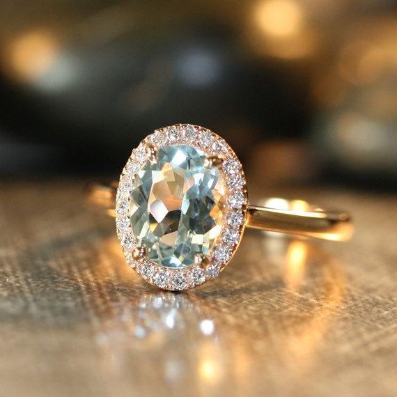 Handmade Natural Aquamarine Engagement Ring 9x7mm Oval Aquamarine Wedding Ring Halo Diamond Ring 14k Rose Gold