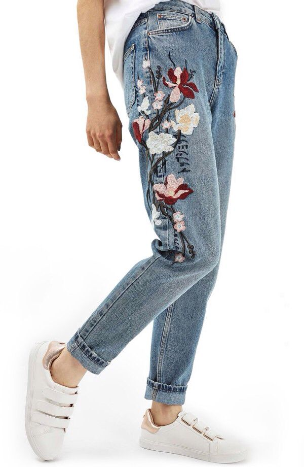 Topshop Topshop Mom Embroidered Jeans available at #Nordstrom