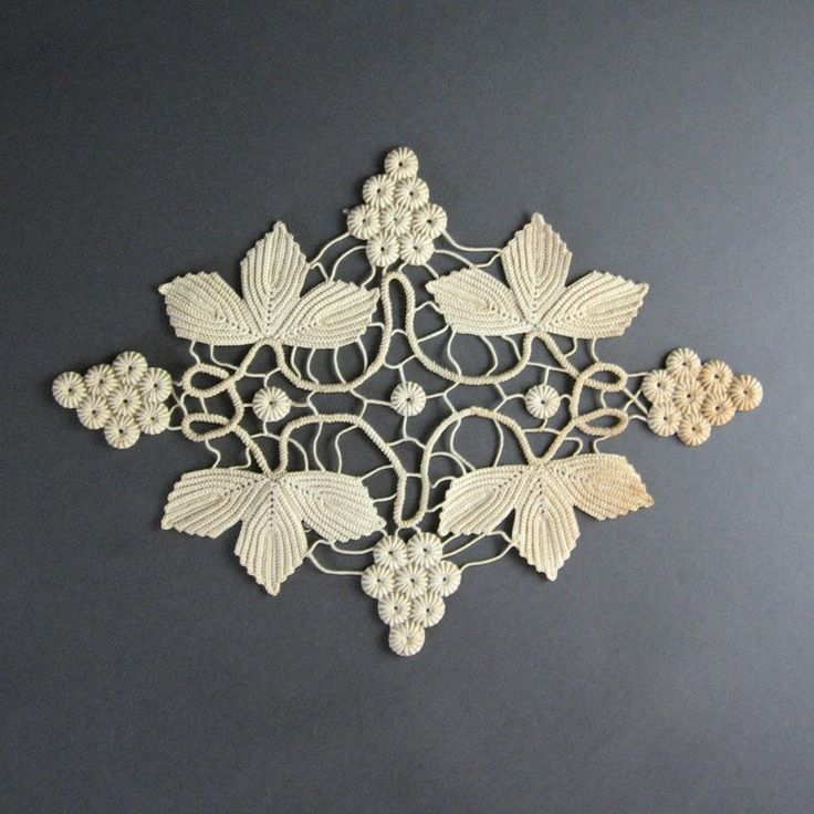 Beautiful Antique Crochet Lace - Ivory Grapes & Leaves - Edwardian Winery Home…