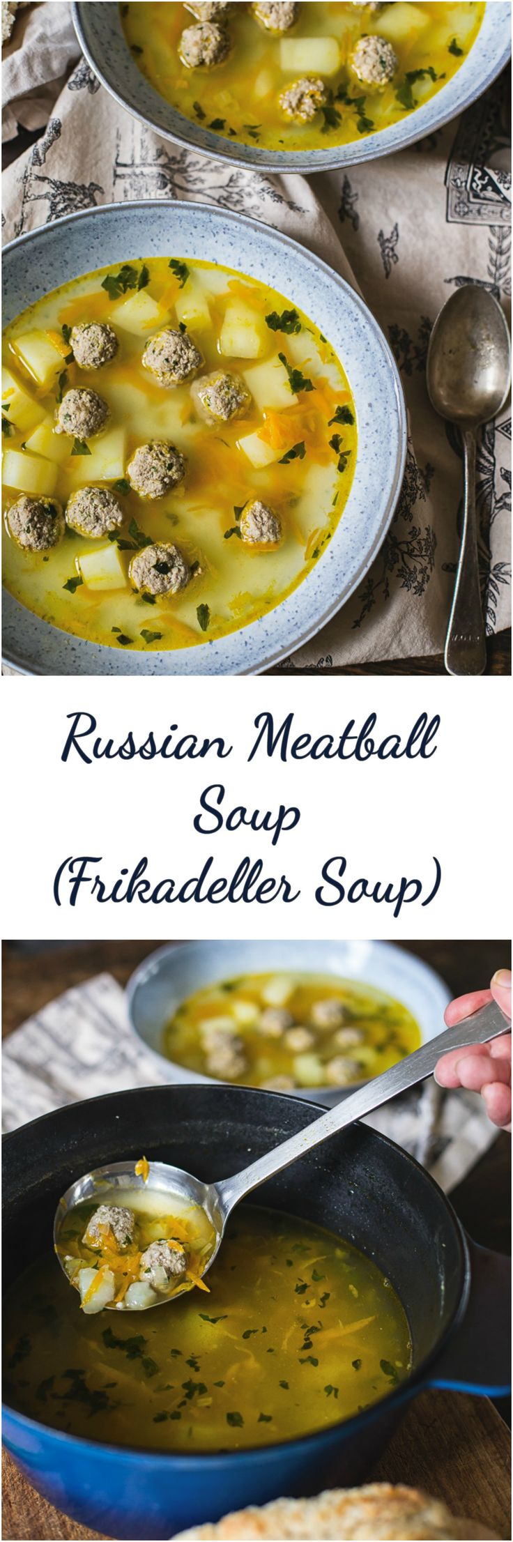 Russian Meatball Soup (Frikadeller Soup) #meatball soup #frikadellersoup