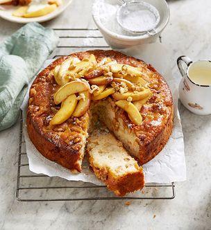 Apple olive oil cake with honey mascarpone