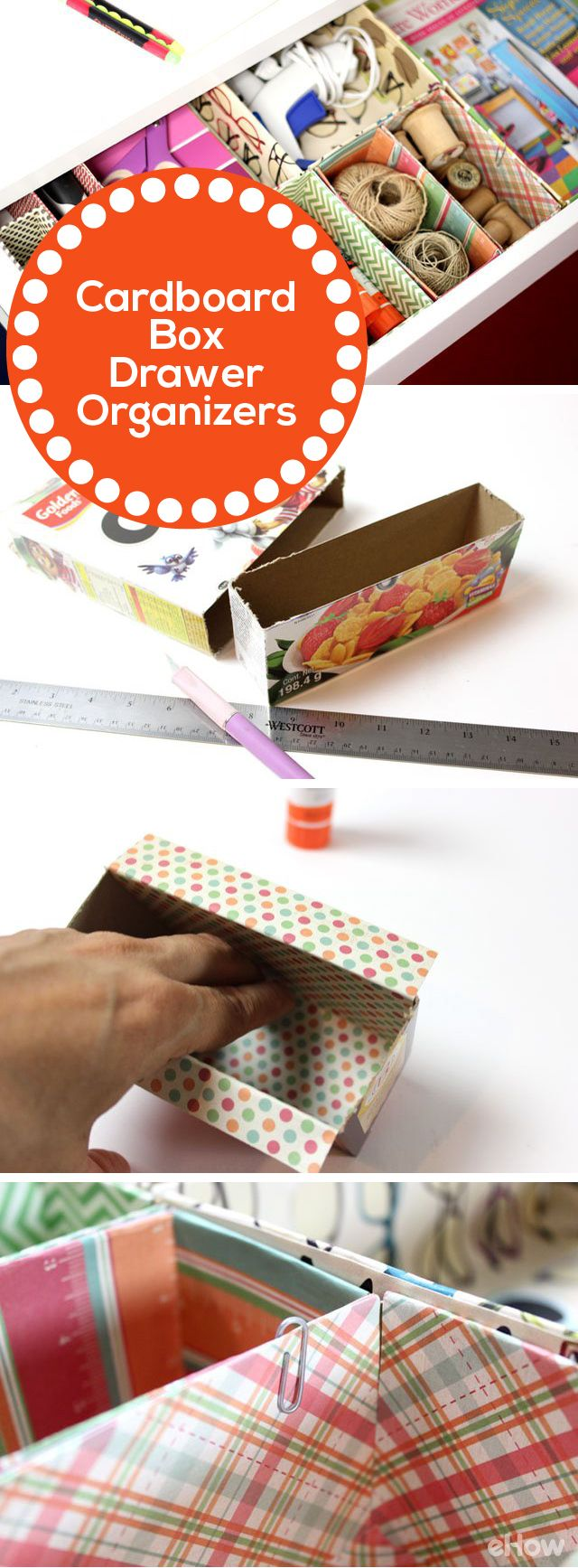 When you open your desk drawer, do you see a mishmash of office supplies and loose papers? These easy DIY drawer organizers made from cookie and cereal boxes are a great organizing solution. (Bonus: They're also a good excuse to eat more cookies and cereal!)  Read more: http://www.ehow.com/how_12340794_diy-desk-drawer-organizers.html?utm_source=pinterest.com&utm_medium=referral&utm_content=freestyle&utm_campaign=fanpage