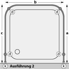 Duschstangen aus Aluminium U-Form Ausführung 2 Deckenbefestigung