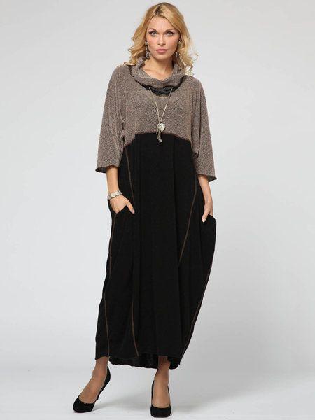 Shop Maxi Dresses - Black Paneled Casual H-line Maxi Dress online. Discover unique designers fashion at StyleWe.com.