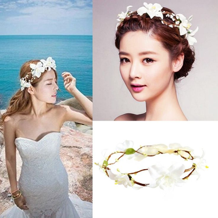 Lily Flower Crown Headband Beach Festival Holidays Floral Garland Hairband YRD
