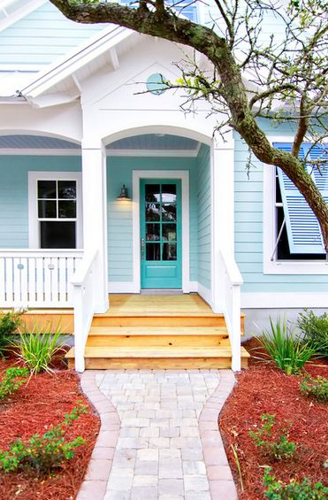 Make your front door shine with beautiful shades of seaside blue.