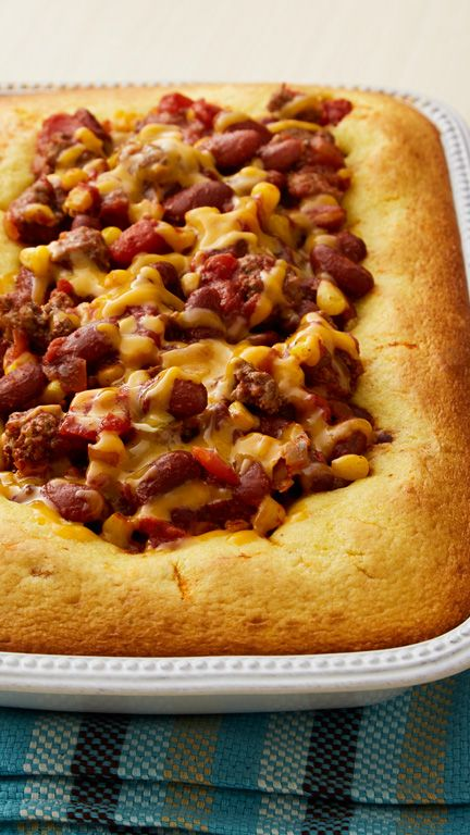 Chili and cornbread partner in this hearty, homey one-dish dinner bake! Fresh fruit and a mixed-green salad are good ideas for serving with chili and cornbread.