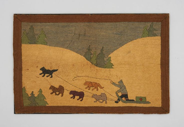 Object Name: Hooked Rug Maker: Grenfell Mission Place Made: North America: Canada, Eastern Canada, Newfoundland & Labrador, Grenfell Mission Period: Early 20th century Date: c 1926 Dimensions: L 104 cm x W 68 cm Materials: Burlap; jute Techniques: Hooked; dyed ID Number: T78.0006a Credit: Textile Museum of Canada purchase
