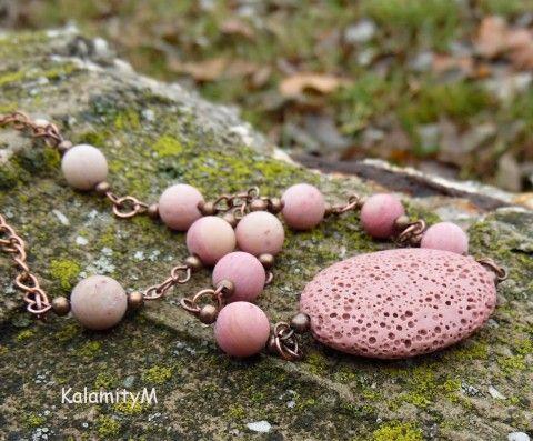 Růžový ovál - náhrdelník z rodonitu náhrdelník dárek rodonit láva starorůžový